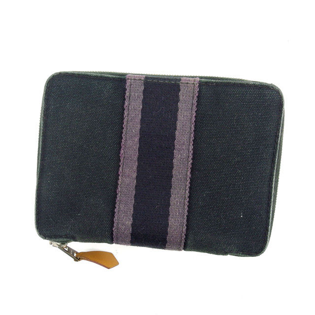 e72e7a8a1dac3d Hermes HERMES two bi-fold wallet large zip around christys Perth PM thereto  black x grey cotton canvas (for) (reference price 25,000 yen) A949 ☆