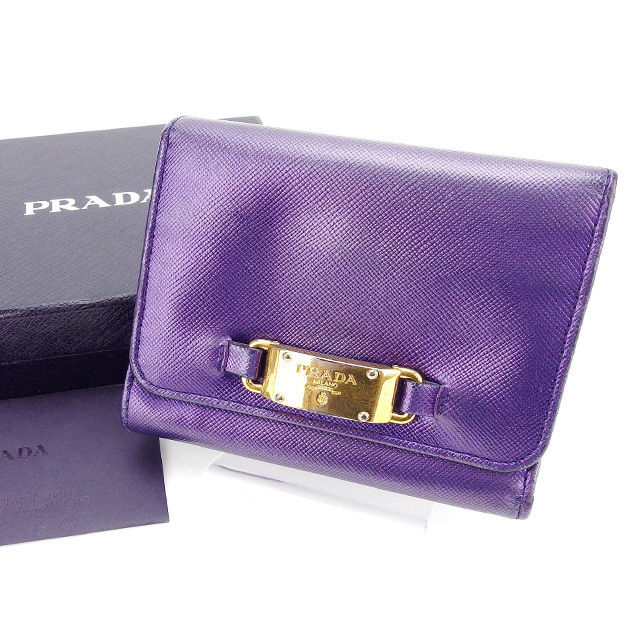 5df2c51621cc Prada PRADA long tri-fold wallet unisex slim purple x Gold leather with A987
