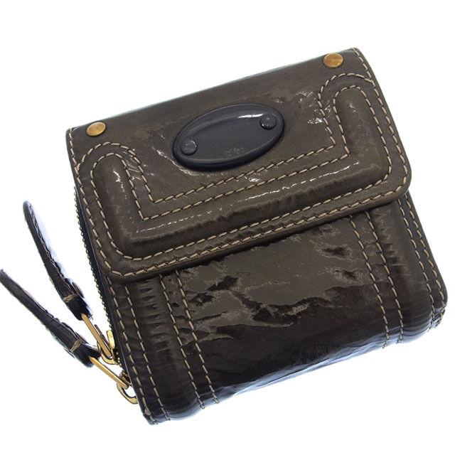 【中古】 クロエ Chloe 二つ折り財布 ラウンドファスナー メンズ可 グレイ エナメルレザー B372