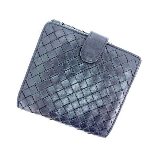 【中古】 ボッテガ・ヴェネタ BOTTEGA VENETA Wホック財布 メンズ可 イントレチャート ブラック レザー B502