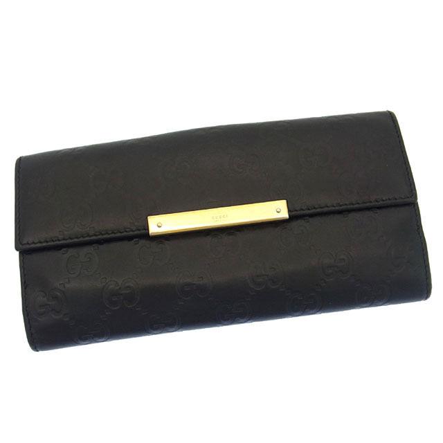 【中古】 グッチ GUCCI 長財布 Wホック 二つ折り メンズ可 ロゴプレート グッチシマ ブラック×ゴールド レザー B699 .