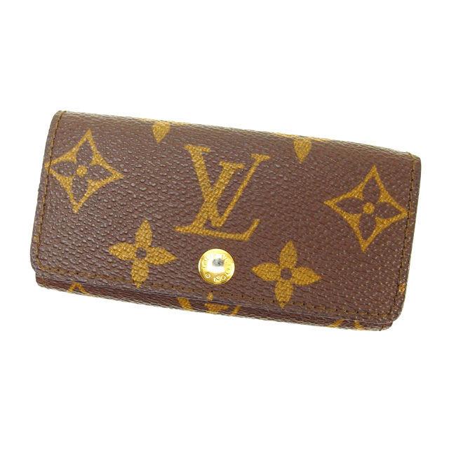 【中古】 ルイヴィトン Louis Vuitton キーケース 4連キーケース ミュルティクレ4 モノグラム PVC×レザー B724 .