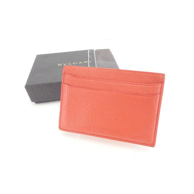 【中古】 ブルガリ カードケース カード パスケース ロゴ コーラルピンク BVLGARI B814