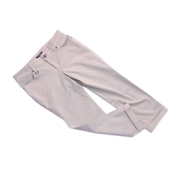 【中古】 バーバリー BURBERRY パンツ ストレッチ レディース ♯40サイズ 裾折り返し クロップド丈 ベージュ 良品 人気 B931