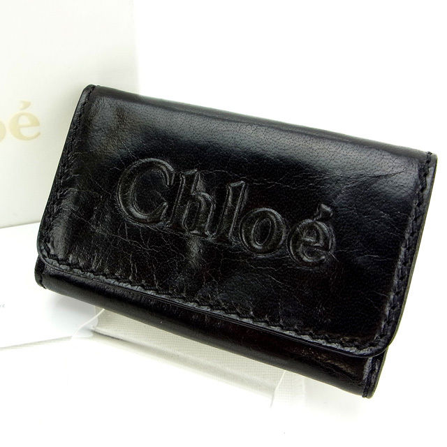 【中古】 ( ・ ) クロエ Chloe キーケース 6連キーケース メンズ可 ブラック レザー C1167 .