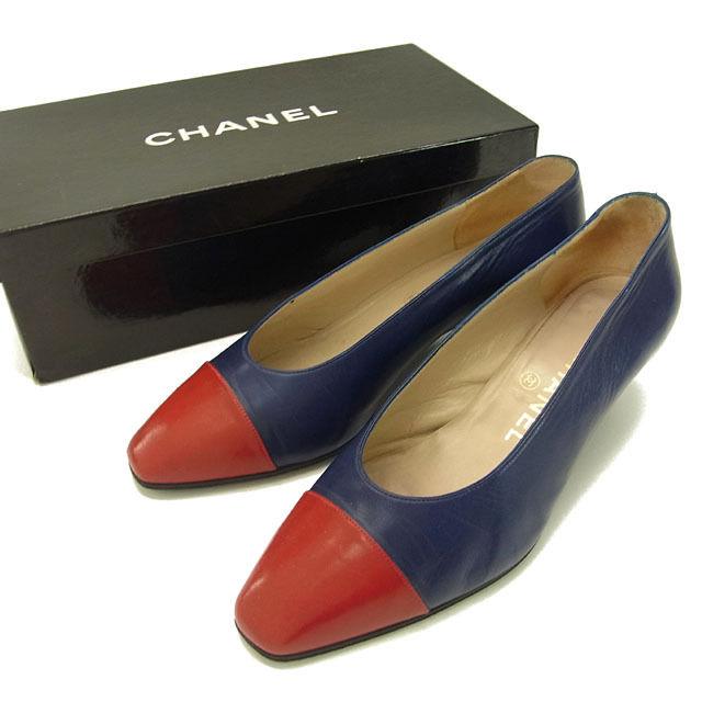 【中古】 シャネル CHANEL パンプス シューズ 靴 レディース ♯35ハーフ スクエアトゥ バイカラー レッド×ネイビー レザー C1512 .