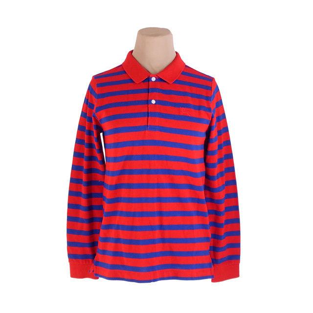 【中古】 バーバリー チルドレン BURBERRY CHILDREN ポロシャツ ホース刺繍 メンズ キッズ12Y152サイズ レッド×ネイビー C1525 .