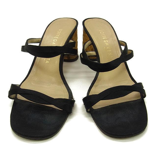 【中古】 ボッテガ ヴェネタ BOTTEGA VENETA サンダル ミュール シューズ 靴 レディース ♯35C ブラック系 C1597 .