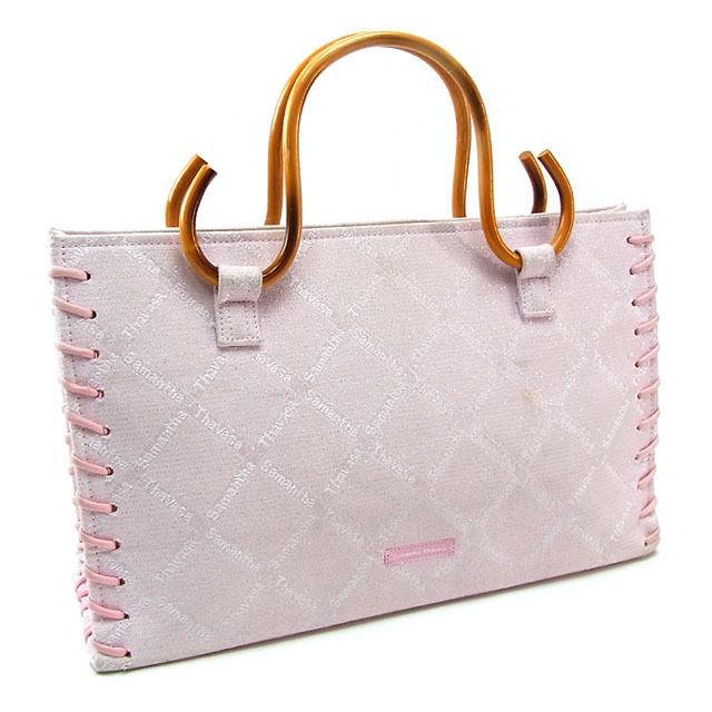 Samantha Samantha Thavasa tote bag handbag Womens wood handle allow Le pink    natural canvas x C1713 wood with cheap popularity 5a17d764104e5