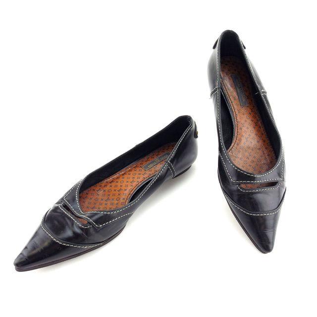 【中古】 ルイヴィトン Louis Vuitton パンプス #34 1 2 レディース ブラック レザー C1742 .