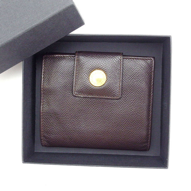 【中古】 ブルガリ BVLGARI Wホック財布 ブラウン レザー C1804 .