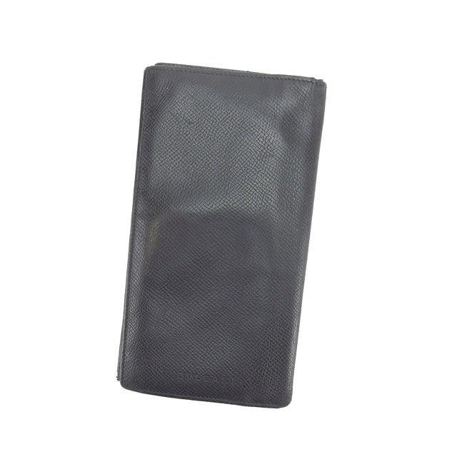 【中古】 ブルガリ BVLGARI 長札入れ 二つ折り メンズ ブラック C1899 .