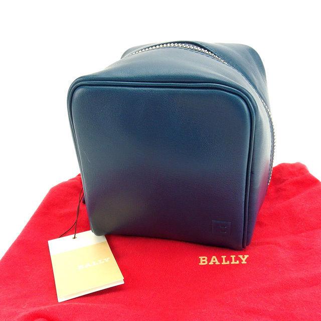 【中古】 バリー BALLY ポーチ 化粧ポーチ 小物入れ メンズ可 スクエアフォルム Bマーク ブルー×シルバー レザー C1909 .