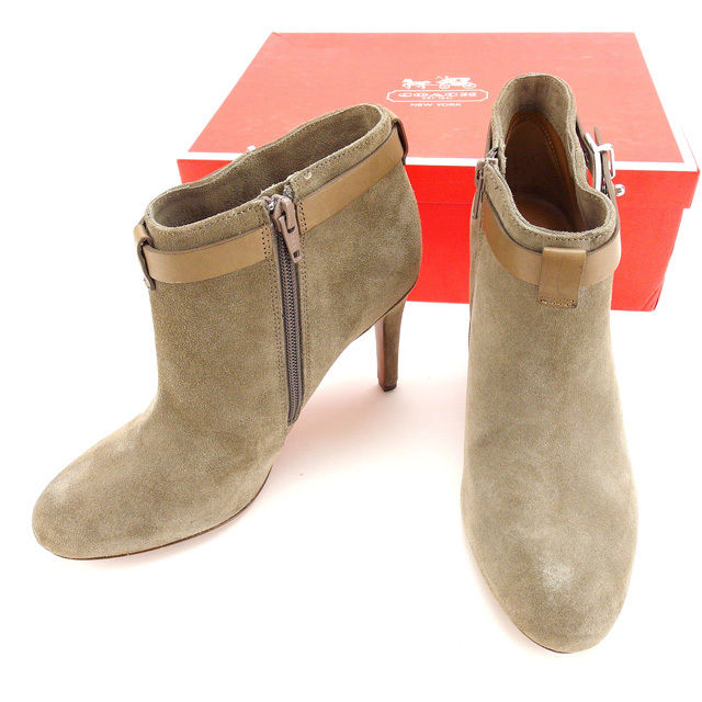 73d119f732f9 Coach COACH boots shoes shoes Lady s ♯ 37 rounds toe short length A4380  gray X silver suede (correspondence) beauty article sale C1934.
