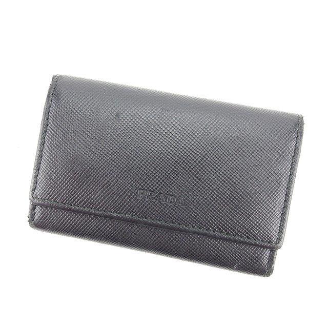 28aaec437f4d Prada PRADA key holder logo black x silver leather translation and C2173