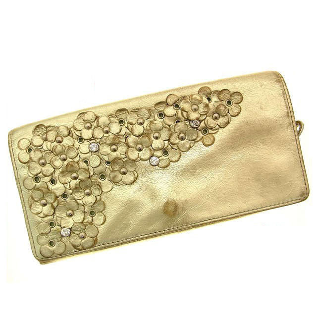f8d939b4c0f2 (Cheap and quick delivery) (Correspondence) Anteprima  ANTEPRIMA   wallet    floral   Pearl Gold and leather C219