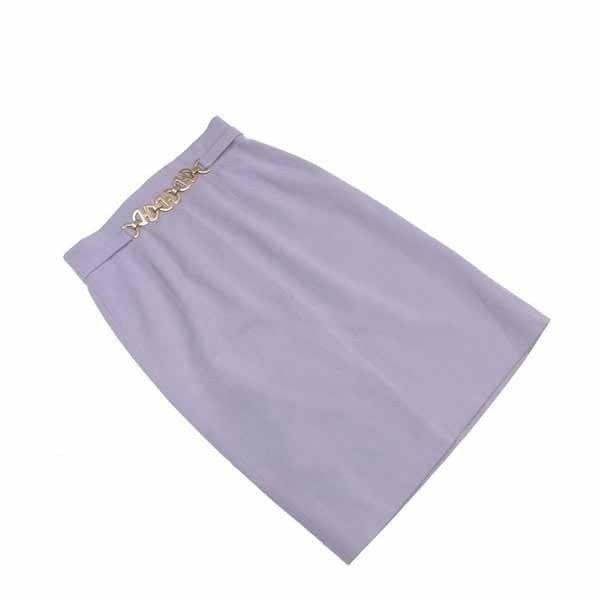 【値引きクーポン】 【中古】 セリーヌ CELINE スカート タイト ミモレ丈 レディース ♯42サイズ グレー×ゴールド C2202 .