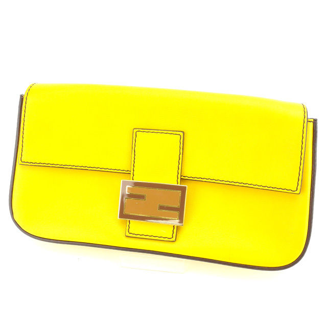 Fendi by FENDI clutch bag ladies baguette yellow leather with beauty  products available for instant delivery C2230 ☆