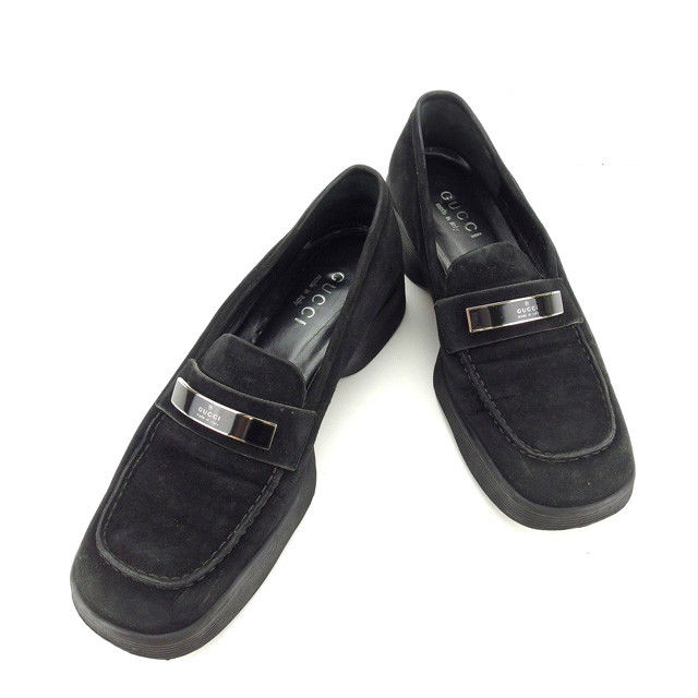 0f44cb3814cb Gucci by GUCCI loafers shoes shoes Womens # 36 C slim black x silver suede  with ...