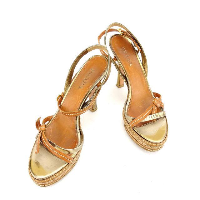【中古】 プラダ PRADA サンダル シューズ 靴 レディース ♯38 ベージュ×ゴールド レザー C2471 .