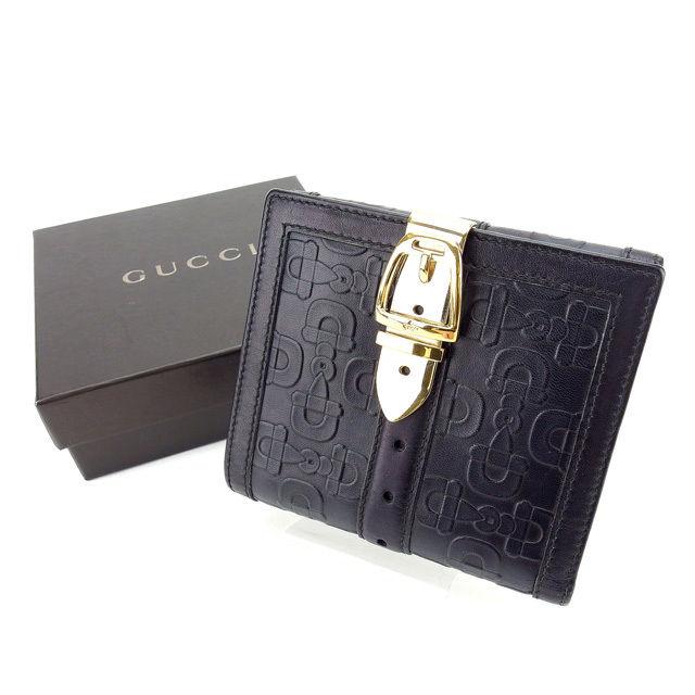 【中古】 グッチ GUCCI Wホック財布 二つ折り財布 ベルトクリップ付き ホースビット柄 ブラック×ゴールド レザー C2488 .