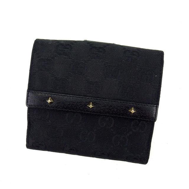 【中古】 グッチ GUCCI Wホック財布 二つ折り財布 スタッズ付き GGキャンバス ブラック×ゴールド キャンバス×レザー C2492 .