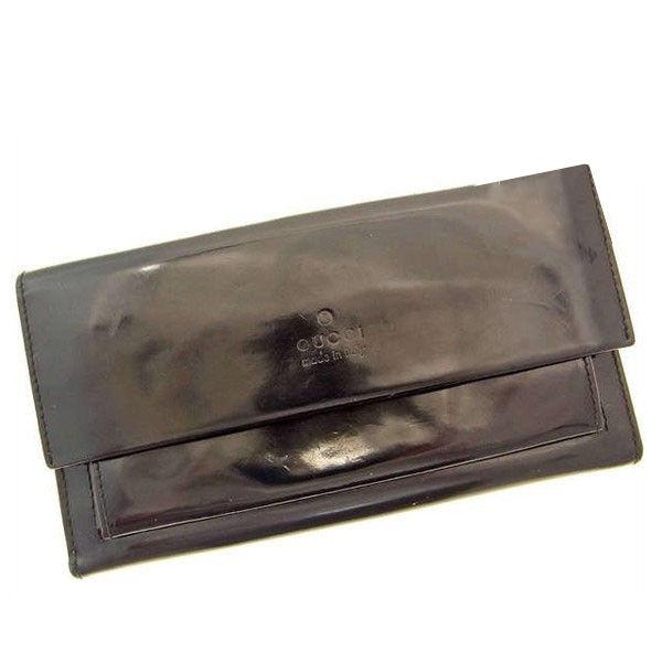 【中古】 グッチ GUCCI Wホック財布 ブラック エナメルレザー C257 .