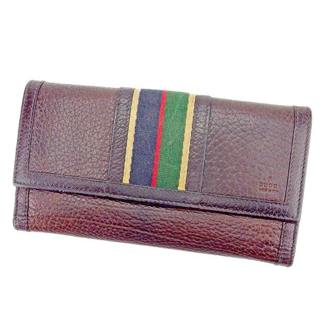 【中古】 グッチ GUCCI Wホック財布 長財布 二つ折り財布 財布 メンズ可 ブラウン系 レザー C2854 .