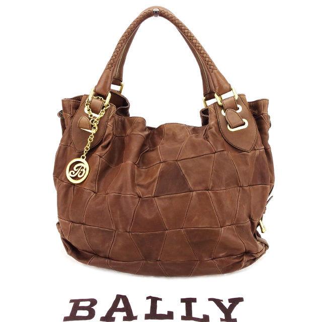 【中古】 バリー BALLY ハンドバッグ バッグ メンズ可 ブラウン×ゴールド レザー×ゴールド素材 美品 C2891 .
