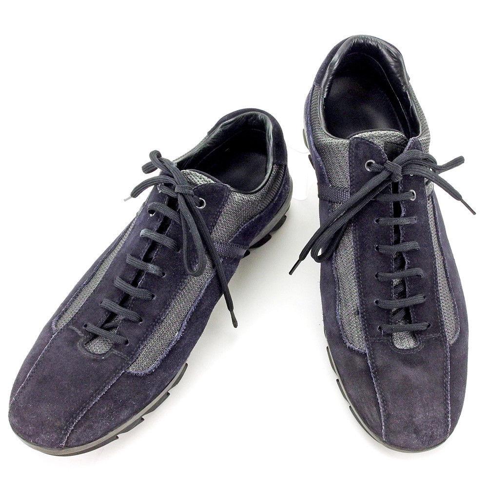 【中古】 プラダ PRADA スニーカー スポーツシューズ 靴 メンズ ブラック ナイロン×レザー 人気 C2944 .
