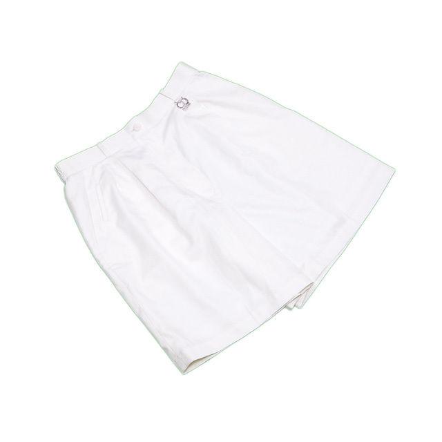 【中古】 ディオール スポーツ Dior キュロット ロゴチャーム付き ホワイト×シルバー ♯LLサイズ センタープレス レディース C3079s