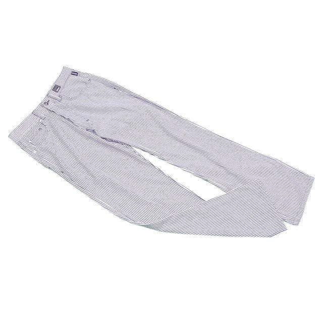 【中古】 ヴェルサーチ VERSACE パンツ メドゥーサボタン メンズ ジーンズクチュール ストライプ グレー×ホワイト PE/67%C/33% 美品 C3105s .