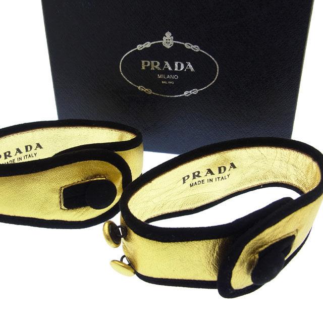 【中古】 プラダ PRADA ブレスレット ブラック×ゴールド ヤギレザー (中古) C567