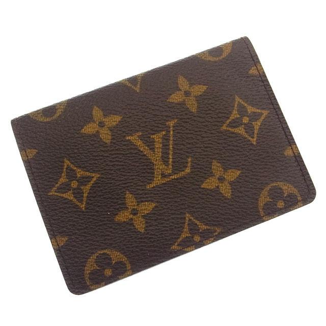 【中古】 ルイヴィトン Louis Vuitton 定期入れ パスケース メンズ可ポルト2カルトヴェルティカル モノグラム ブラウン PVC×レザー C598 .