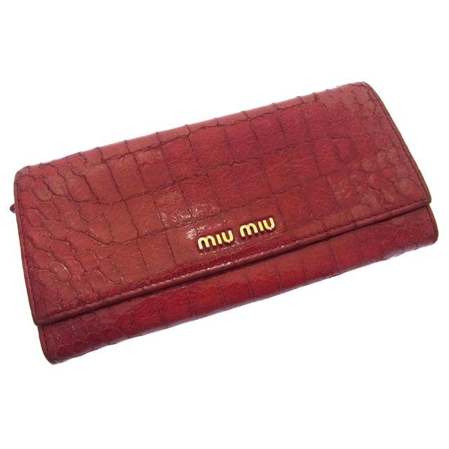 【中古】 ミュウミュウ miumiu 長財布 二つ折り レディース クロコ調型押し ロゴ レッド×ゴールド レザー C745 .