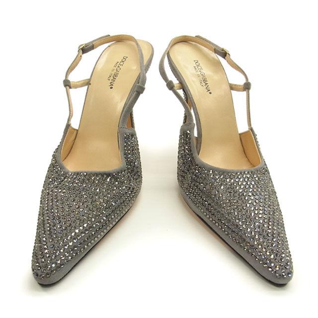 【中古】 ドルチェ&ガッバーナ DOLCE&GABBANA パンプス ミュール 靴 レディース ♯38・ラインストーン グレイ系 スエード C775 .