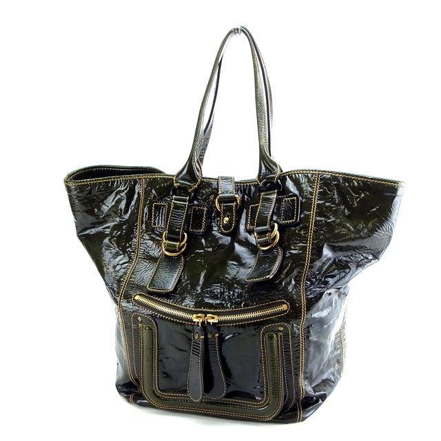 【中古】 クロエ トートバッグ グリーン Chloe バック 収納 ファッション ブランド ブランドバッグ 手持ちバッグ 人気 贈り物 迅速発送 在庫処分 男性 女性 良品 夏 1点物 C830