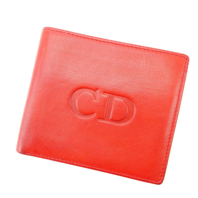 【中古】 クリスチャン・ディオール Christian Dior 二つ折り財布 ヴィンテージ メンズ可 レッド×ネイビー レザー D1156 .