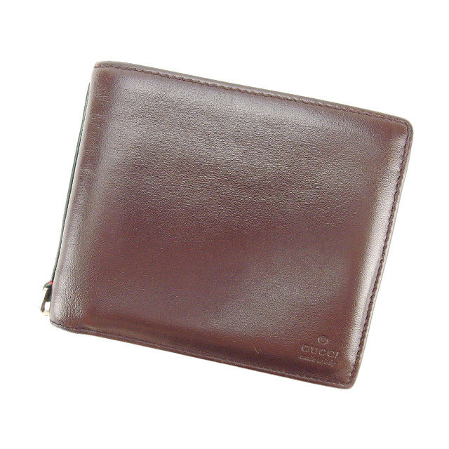 【中古】 グッチ GUCCI 二つ折り財布 メンズ可 シェリー ブラウン レザー D1291 .
