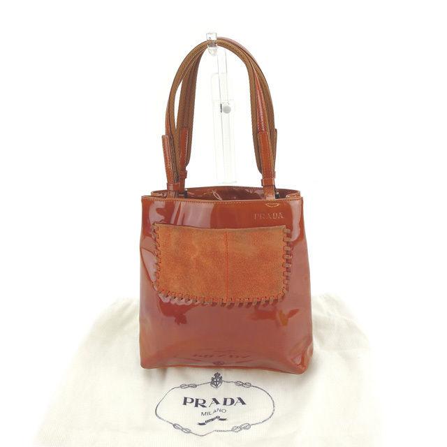 9cf41f5d9140 Prada PRADA handbag mini-tote bag Lady's different fabrics change logo dark  orange enamel leather X suede (correspondence) deep-discount sale D1319