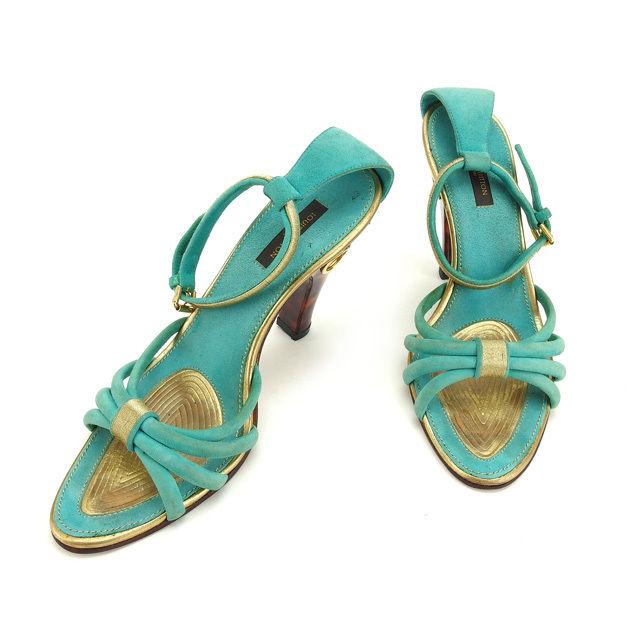 【中古】 ルイヴィトン Louis Vuitton サンダル シューズ 靴 レディース べっ甲柄ヒール グリーン×ゴールド×ブラウン系 D1359 .