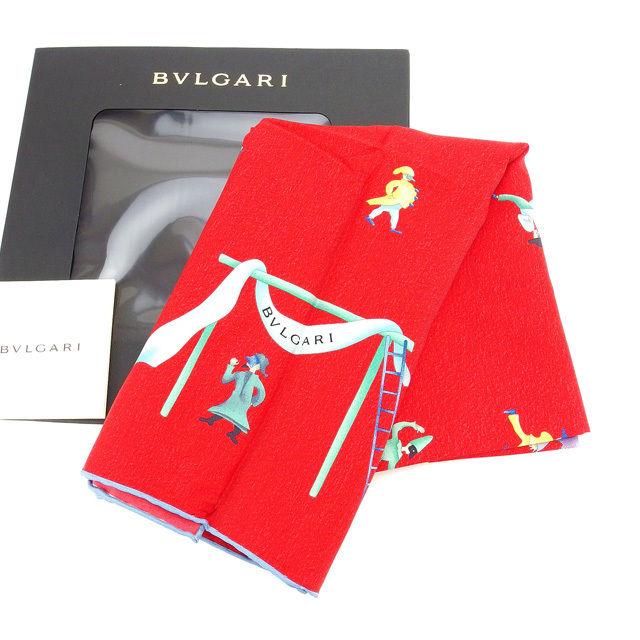 【中古】 ブルガリ BVLGARI スカーフ 大判サイズ ファッションアイテム メンズ可 サーカス柄 レッド×ブルー系 SILK 100% 未使用 D1388
