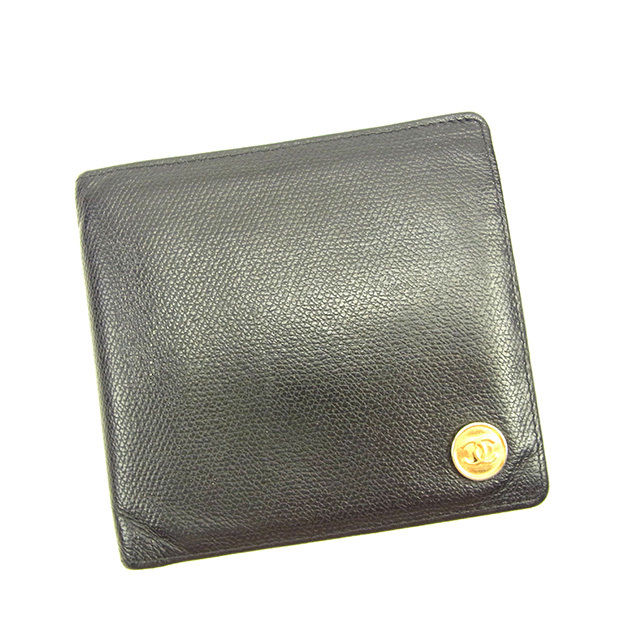 【中古】 シャネル CHANEL 二つ折り財布 コンパクトサイズ メンズ可 ココボタン ブラック×ゴールド レザー D1413 .