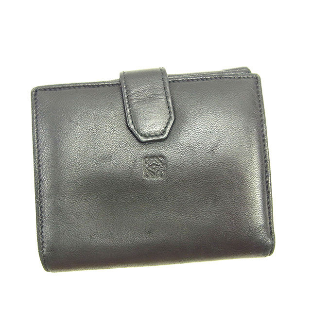 【中古】 ロエベ LOEWE Wホック財布 二つ折り コンパクトサイズ メンズ可 アナグラム ブラック ラムレザー D1461 .