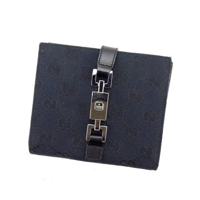 【中古】 グッチ GUCCI Wホック財布 二つ折り財布 男女兼用 ジャッキー金具×GG柄 035・1147 ブラック×シルバー キャンバス×レザー D1514 .