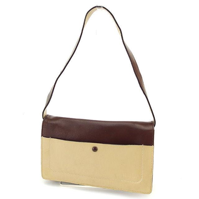 27af98a0f716 ミュウミュウ miu miu shoulder bag one shoulder Lady s logo beige X brown leather  popularity sale D1682