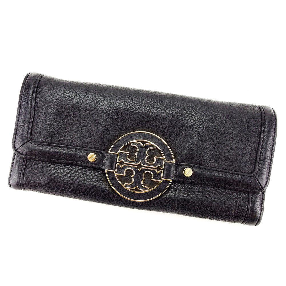 【中古】 トリバーチ Tory Burch ジップ長財布 長財布 二つ折り財布 財布 メンズ可 ブラック×ゴールド レザー 美品 D1720