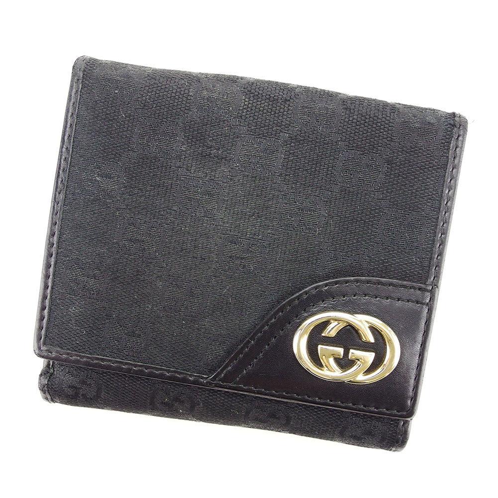 【中古】 グッチ Wホック財布 二つ折り 財布 Gucci ブラック D1734s