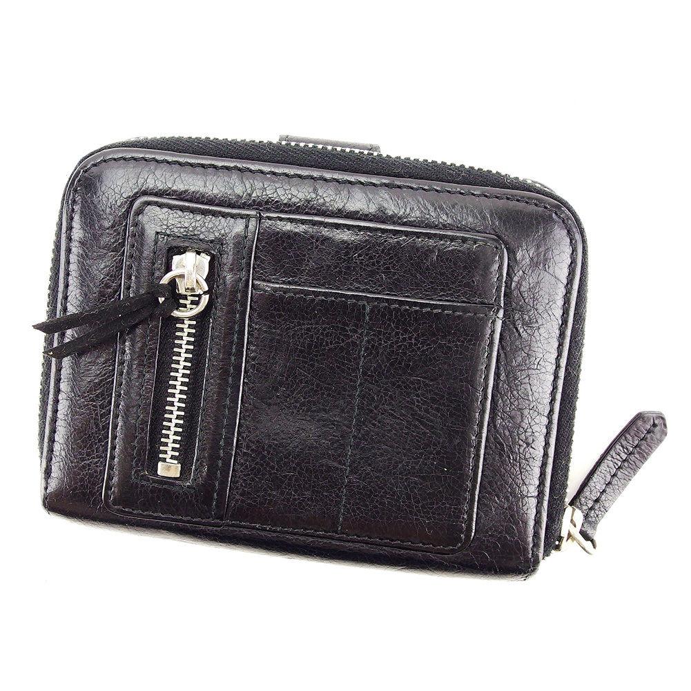 【中古】 ディオール Dior 二つ折り 財布 ラウンドファスナー レディース メンズ 可 ブラック レザー 人気 D1764 .