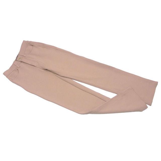 【中古】 フェンディ ジーンズ FENDI jeans パンツ FFボタン レディース ♯USA28サイズ ストレート ベージュ×ゴールド PE/65%VS/30%ET/5% 美品 D1786 .